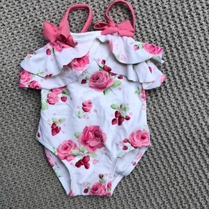 Janie & jack girls flower ruffle swim suit